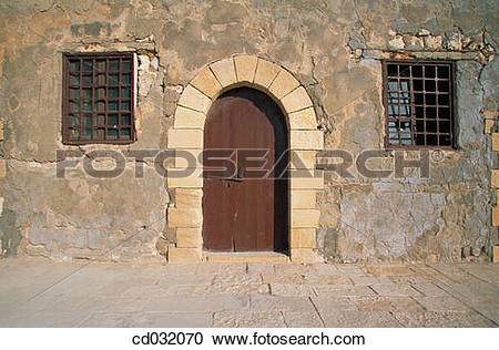 Stock Photography of Door and barred windows. Fort of Qaitbay.
