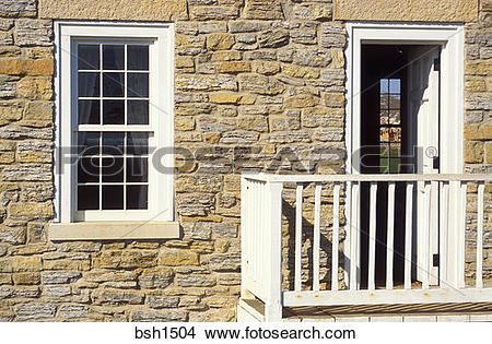 Stock Photo of Window and door at the commandants residence, Fort.
