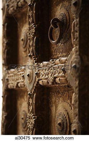 Stock Image of Carved wooden door at Mehrangarh Fort, Jodhpur.