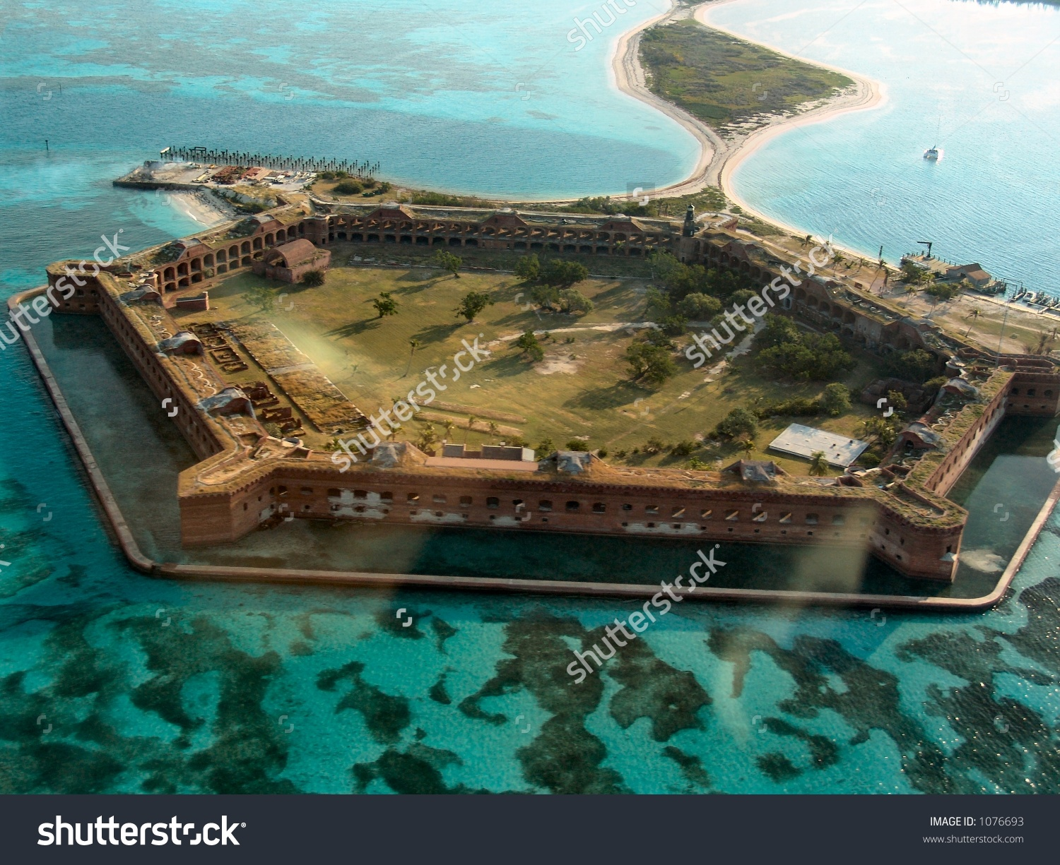 Aerial View Fort Jefferson National Park Stock Photo 1076693.