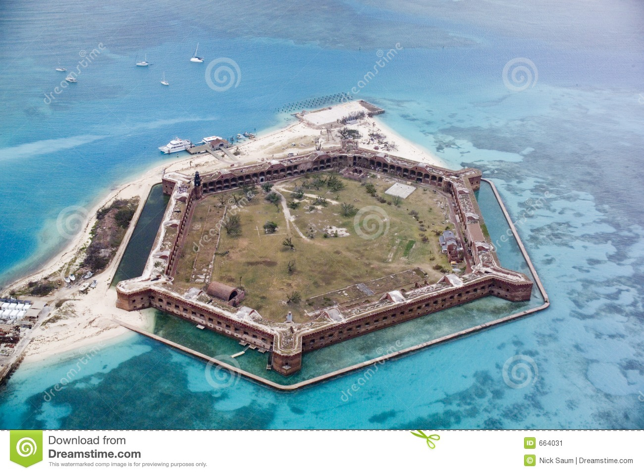 Fort Jefferson, Dry Tortugas, Florida From The Northeast Stock.