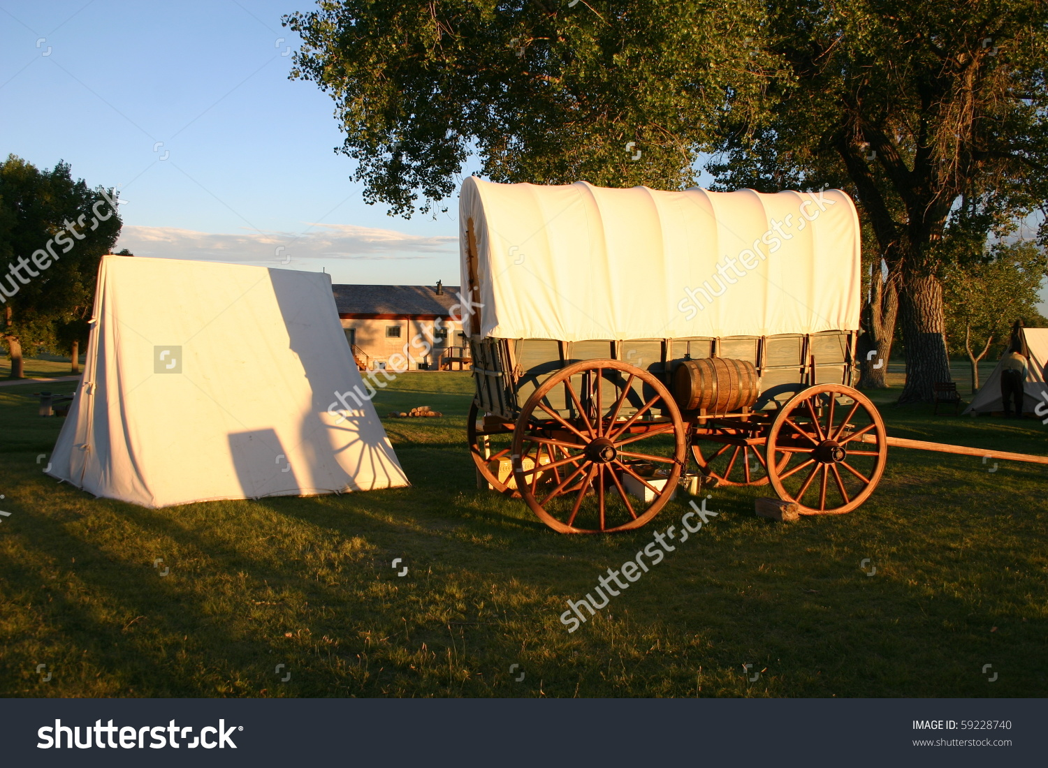 Fort Laramie National Historic Site Wyoming Covered Wagons Set Up.