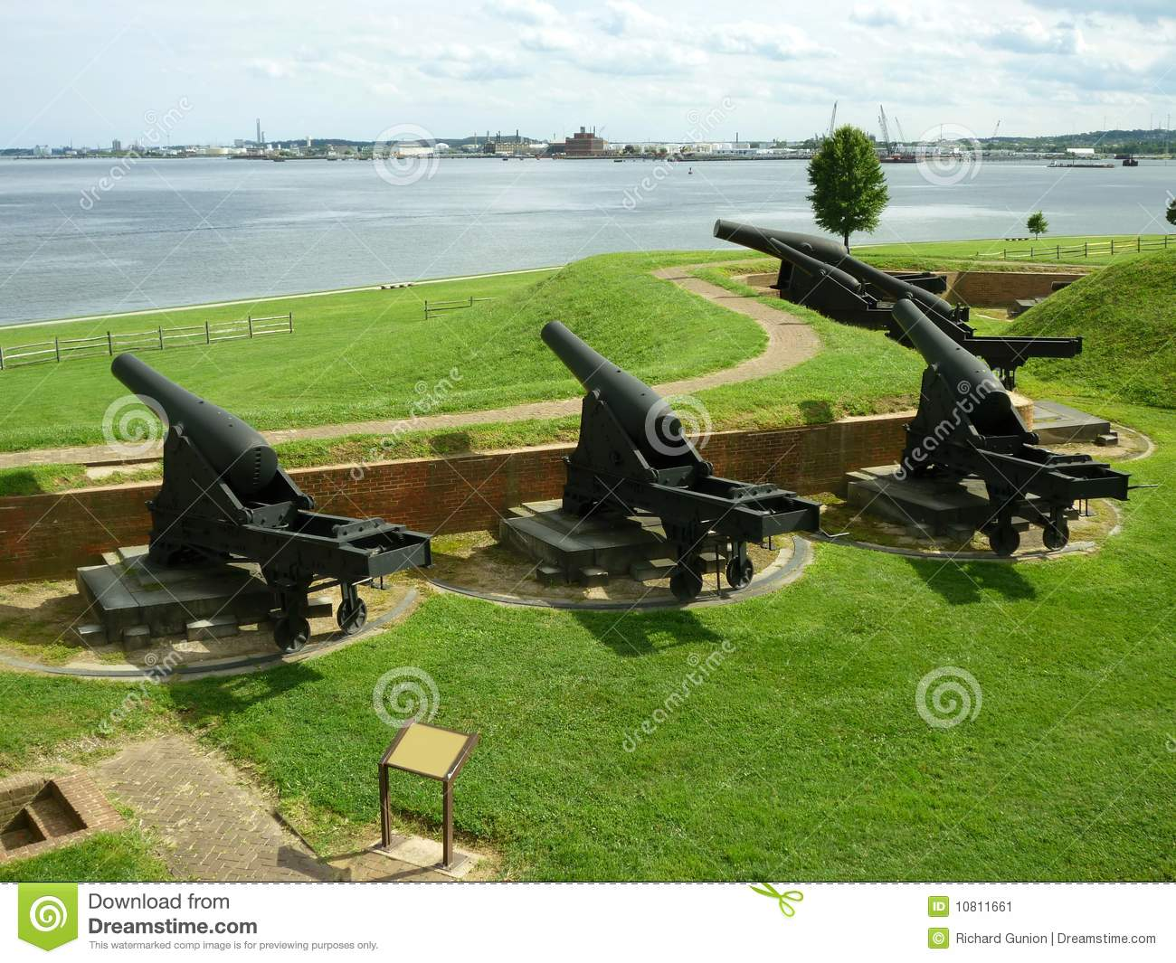 Fort McHenry Civil War Canons Stock Image.