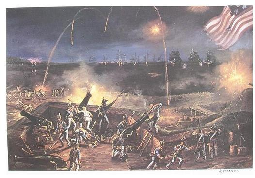 A depiction of the bombardment of Fort McHenry. British ships are.