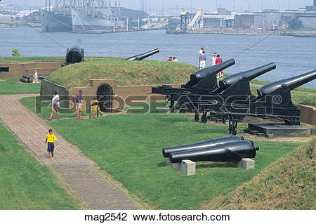 Stock Photo of people at cannons historic Ft. McHenry National.