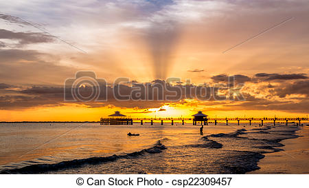 Stock Images of Sunset on Fort Myers Beach.