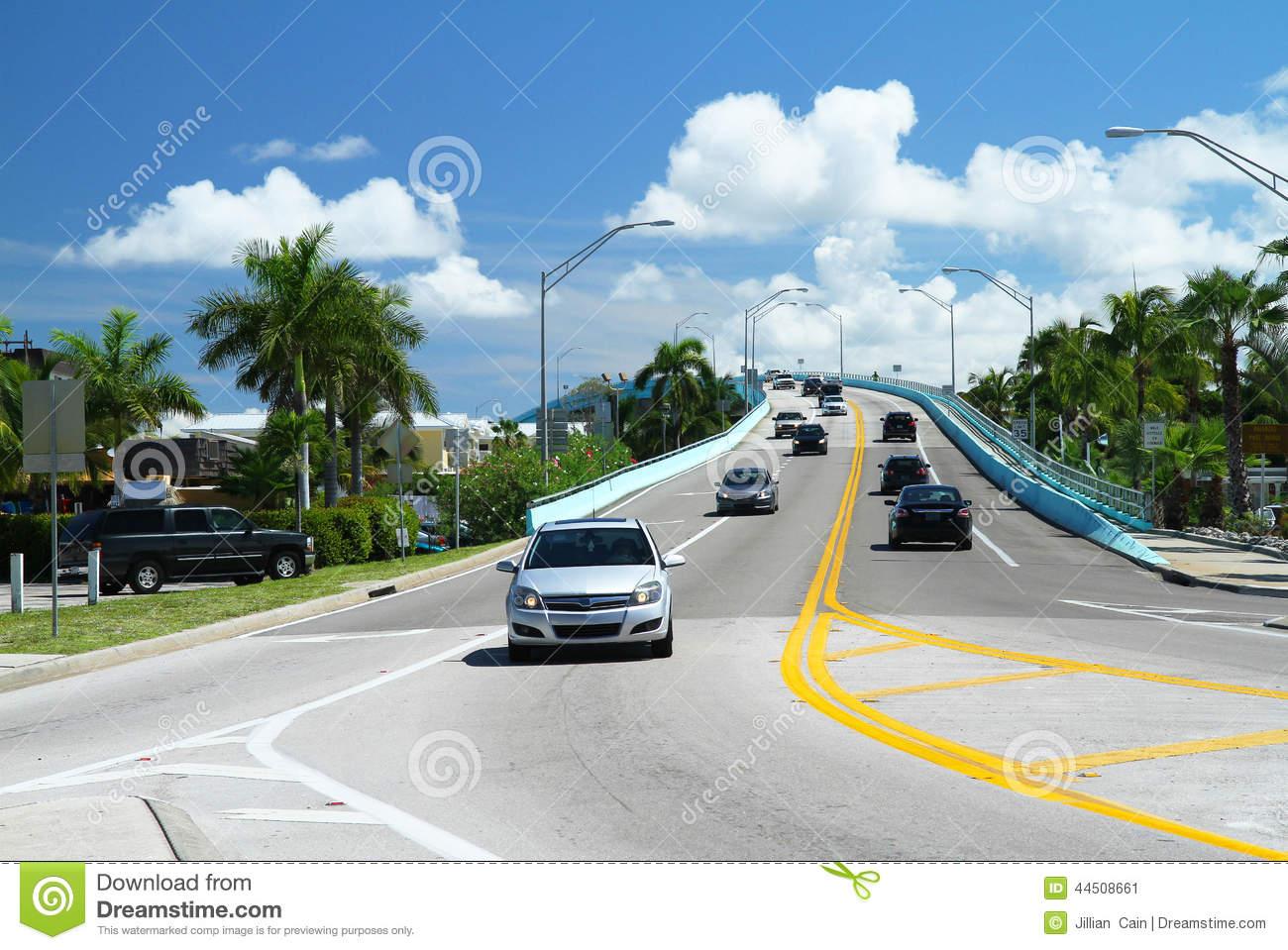 Traffic On The Mantanzas Pass Bridge In Fort Myers Beach, Florida.