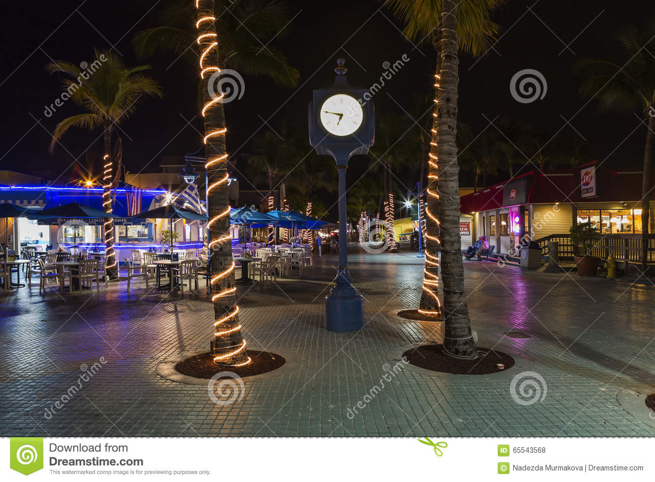 Night On Times Square, Estero Blvd, Fort Myers Beach, Florida.