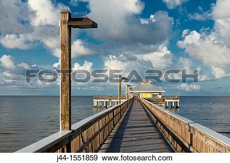 Stock Photograph of Fishing Pier, Fort Myers Beach, Florida j44.