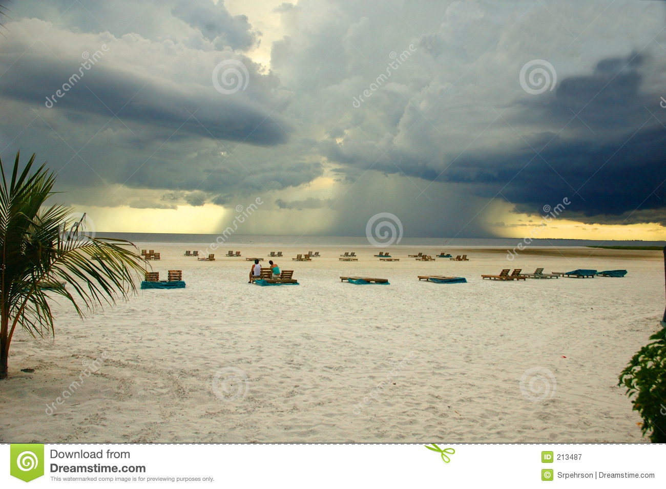 Offshore Thunderstorm Fort Myers Beach Florida Royalty Free Stock.