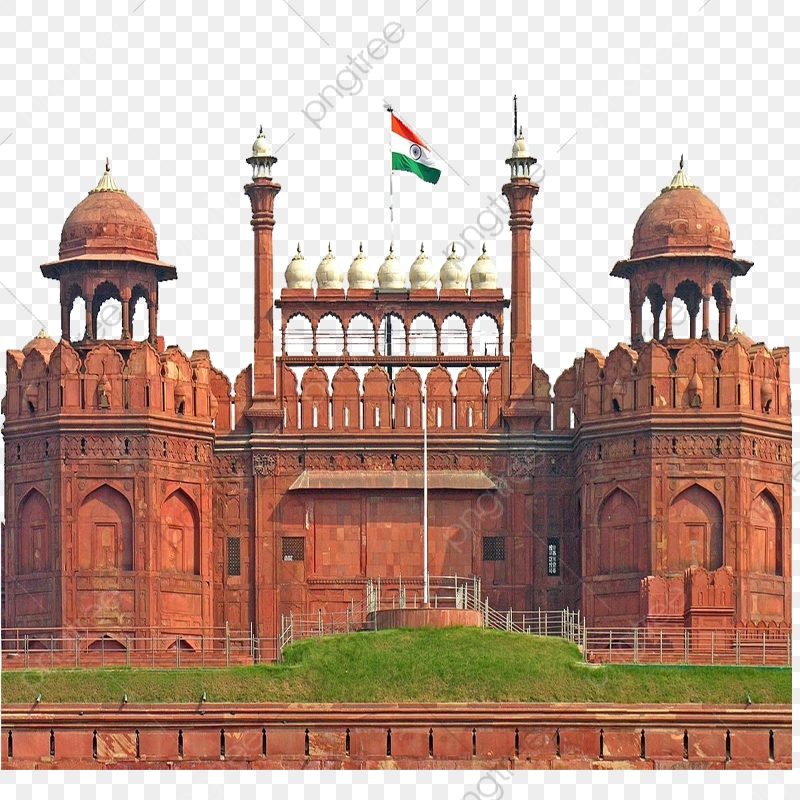 Red Fort With Flag, Red Fort, Transparent Red Fort PNG Transparent.