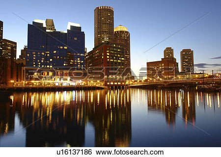 Stock Images of Boston, MA, Massachusetts, Downtown, skyline, Fort.