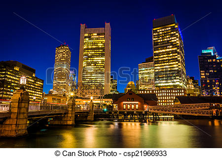 Stock Photos of The Boston skyline at night, seen from Fort Point.