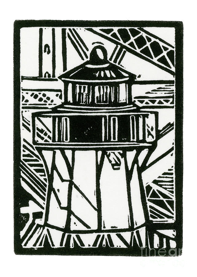 Fort Point Lighthouse Drawing by Tom Taneyhill.