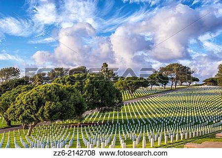 Pictures of Fort Rosecrans National Cemetery with majestic cloud.