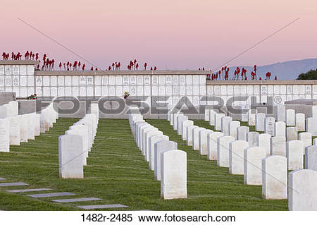 Stock Image of Cemetery at dusk, Fort Rosecrans National Cemetery.