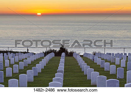 Stock Images of Cemetery at waterfront, Fort Rosecrans National.