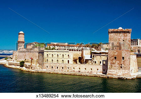 Stock Photo of Fort Saint Nicolas at the coast of a sea, Marseille.