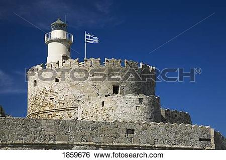 Stock Images of Lighthouse in Fort Saint Nicholas, Rhodes, Greece.