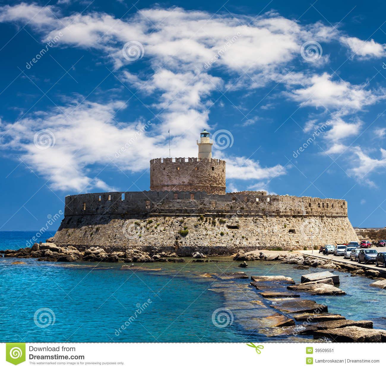 Fort Saint Nicolas Rhodes, Greece Stock Photo.