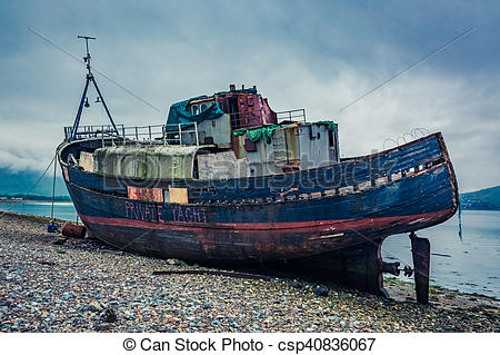 Stock Image of Old ship wreck in Fort William, Scotland.