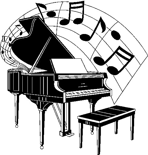 Free clip art of a piano or notes.
