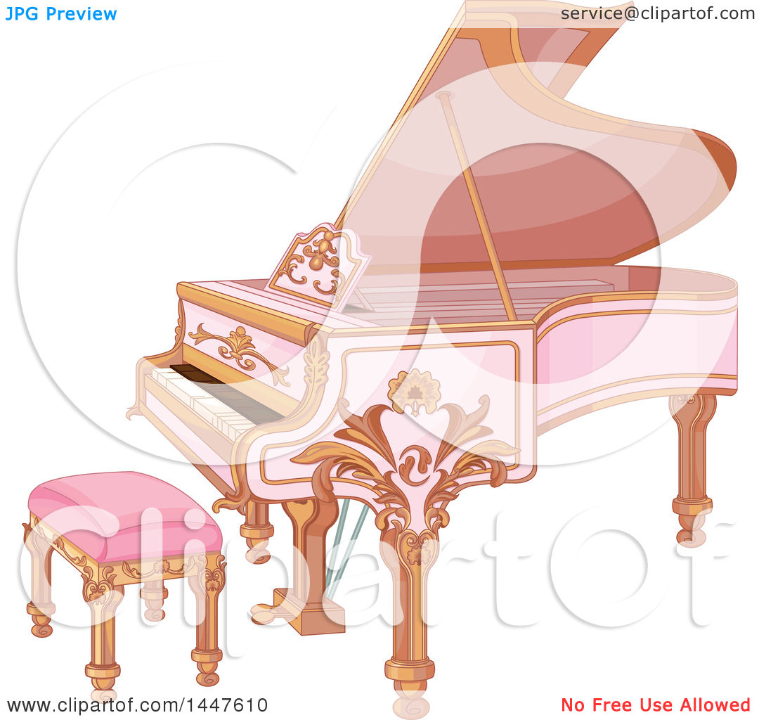 Clipart of a Beautiful Pink Fortepiano.