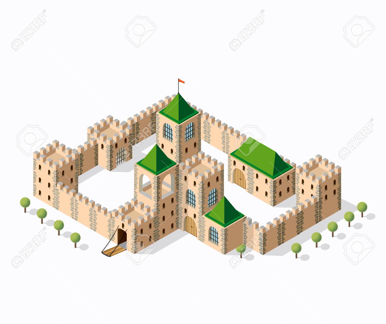 Fortezza Medievale Forte. Vista Isometrica Epoca Fortezza.