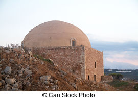 Stock Photo of Rethymno Fortezza fortress Mosque.