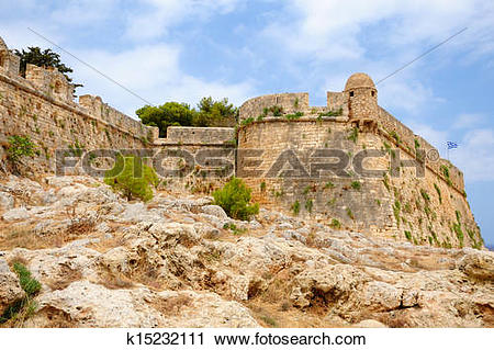 Stock Photography of Citadel Fortezza in city of Rethymno, Crete.