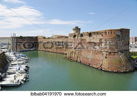 Stock Photography of Fortezza Vecchia, fortress, port, Livorno.