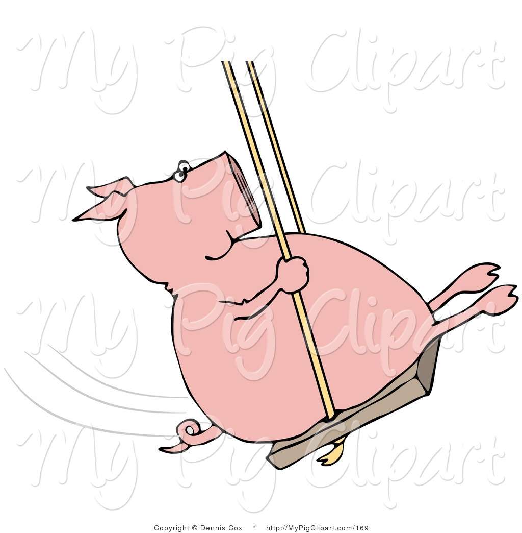 Swine Clipart of a Playful Pig Swinging Back and Forth by Dennis.