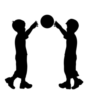 Boys Playing Ball Clipart Image.
