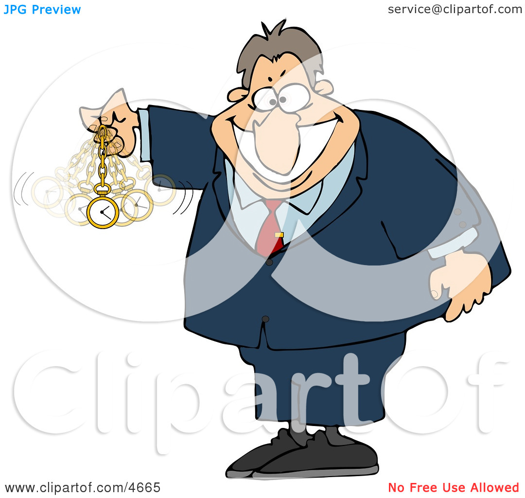 Expert in Hypnotism Waving a Clock Back and Forth Clipart by.