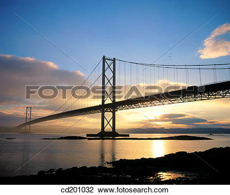 Stock Photo of Forth Road Bridge at sunset, near Edinburgh.