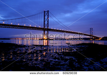 Forth Road Bridge Night Edinburgh Scotland Stock Photo 60929038.