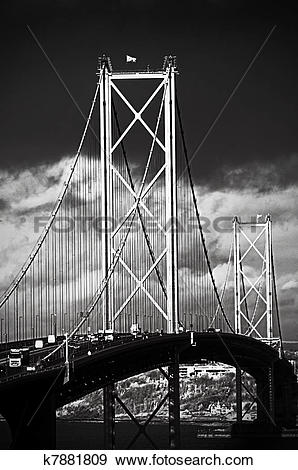 Stock Photograph of The Forth Road Bridge, Edinburgh, Scotland.