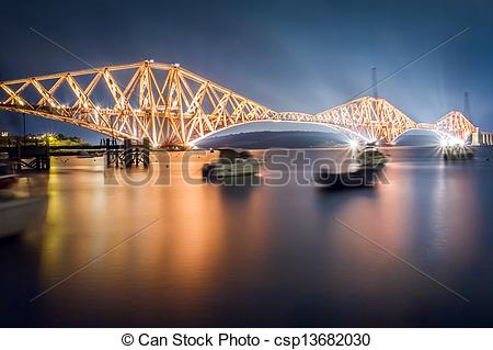 Stock Photos of The Forth Road Bridge by night csp13682030.