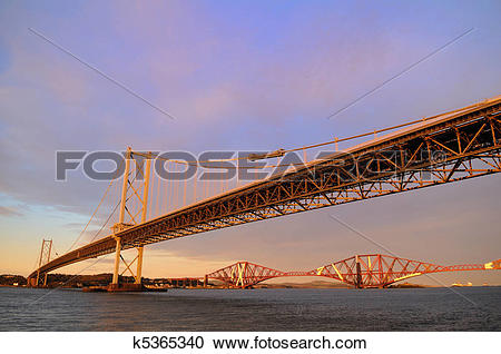 Stock Photography of The Forth Road and Rail Bridges k5365340.
