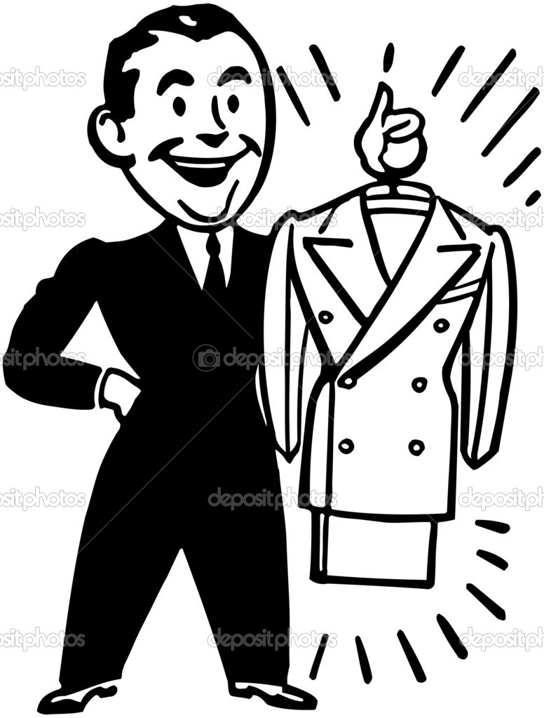 40s man in suit clipart.