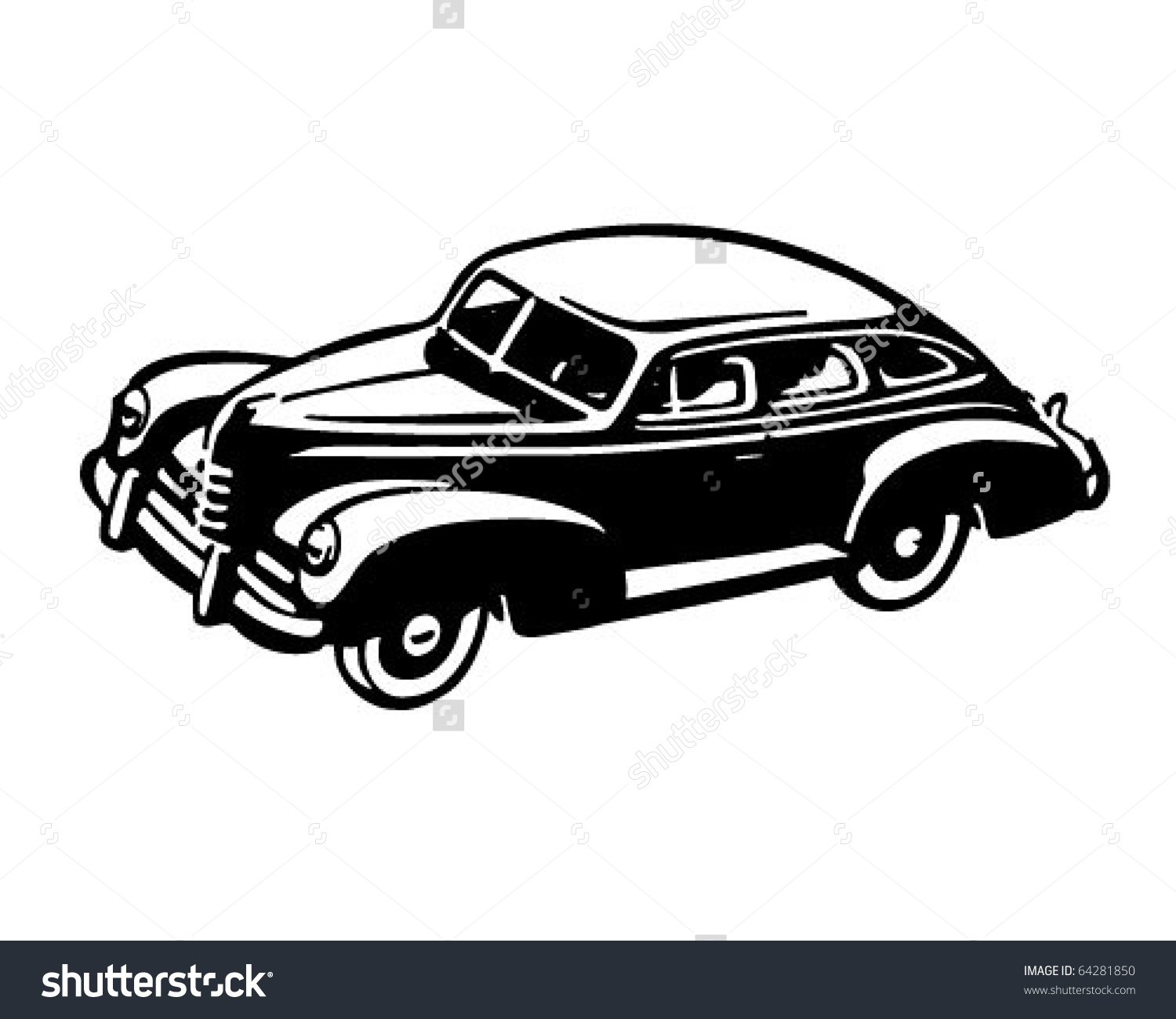 Forties Car Retro Clipart Illustration Stock Vector 64281850.