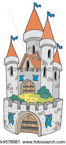 Clipart of Cartoon castle with fortification k4578981.