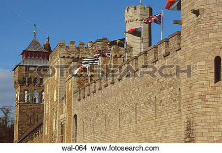 Stock Photo of Cardiff Castle Fortifications Wales wal.