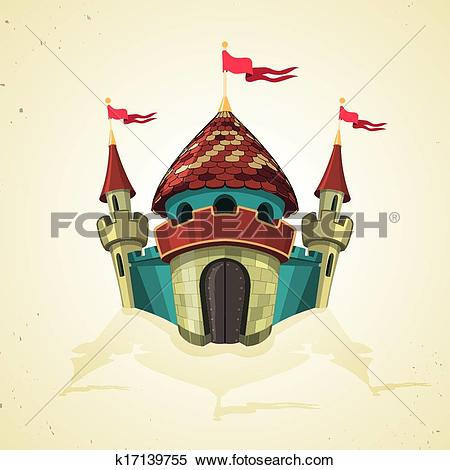 Clipart of Cartoon fortified castle with flags. Icon. k17139755.