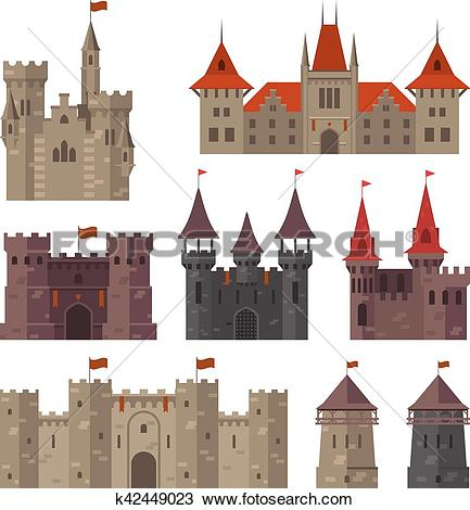 Clipart of Medieval castles, fortresses and strongholds with.