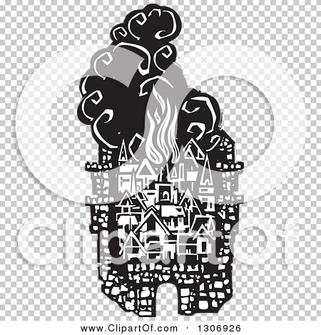 Clipart of a Black and White Woodcut Fortified City with Burning.