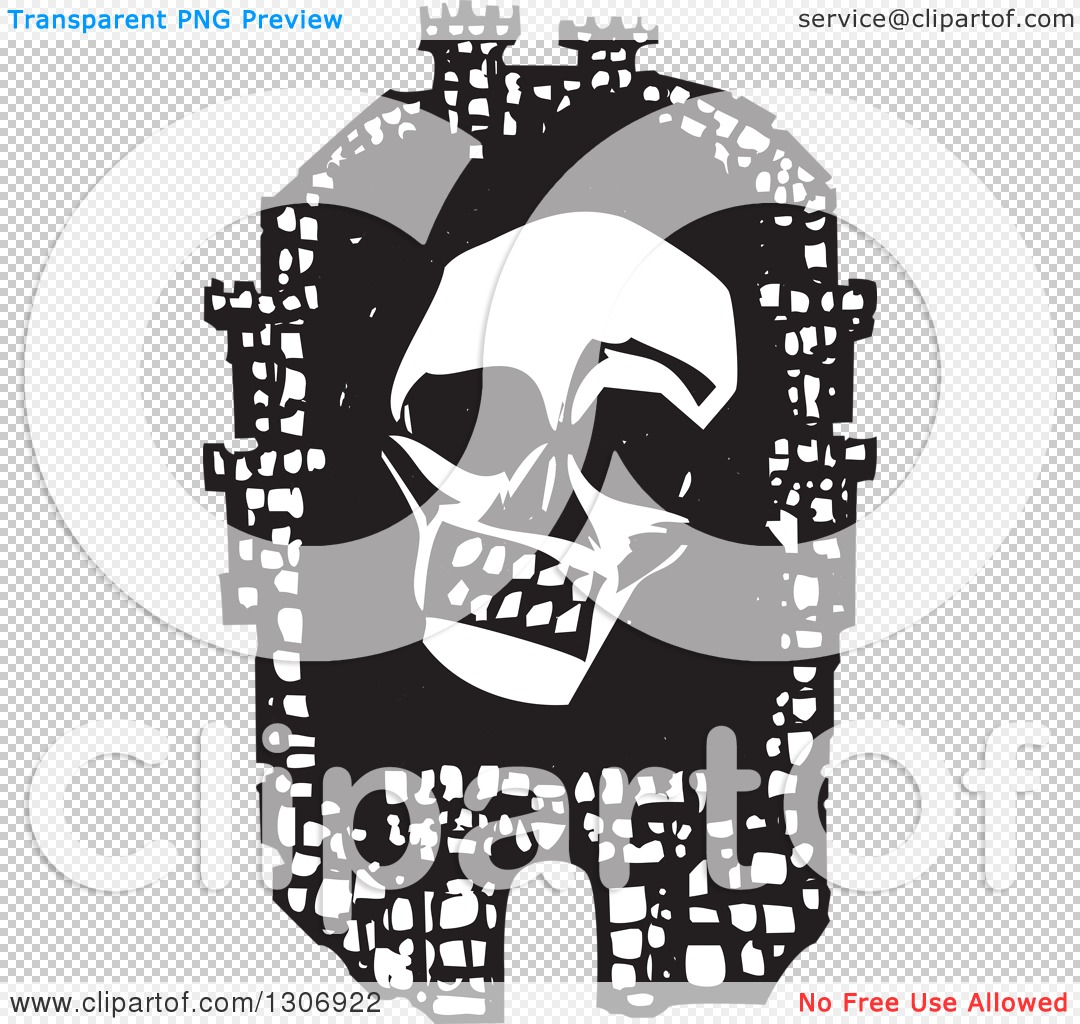 Clipart of a Black and White Woodcut Fortified City with a Death.