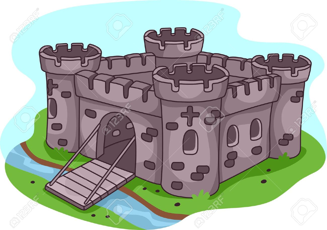 Illustration Of A Fortified Castle Stock Photo, Picture And.