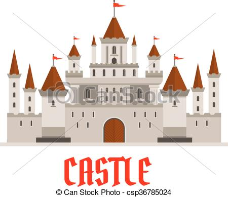 Vector Illustration of Fortified castle icon with flags and.
