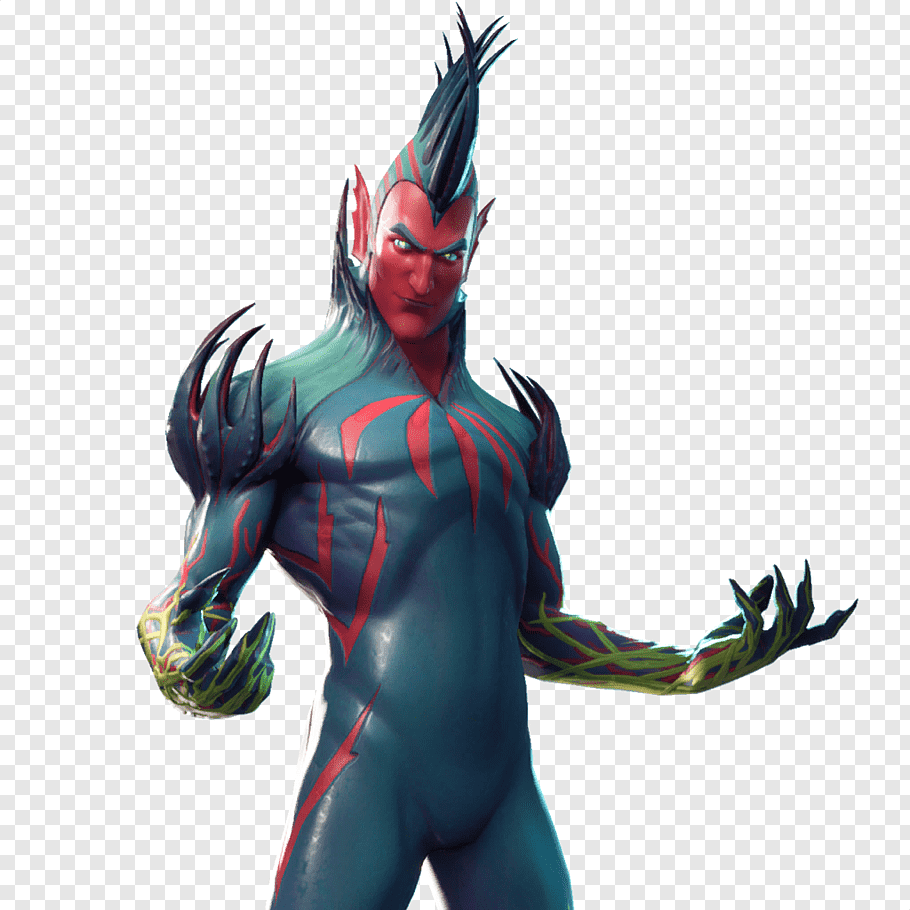 Green and red character with mohawk, Fortnite Battle Royale.